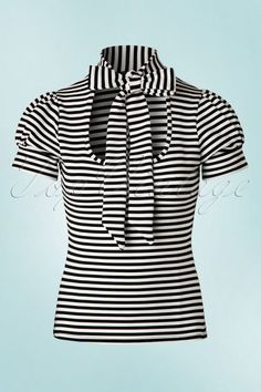 Vintage Chic Black and White Bow Striped Top 111 14 19142 20160429 0004W