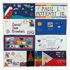 THE NAMES PROJECT: AIDS MEMORIAL QUILT, Block 3957. The top left panel is the one I made for my friend John Rainwater who passed away from AIDS in the mid 90's. It was part of the 48,000 that were displayed in Washington DC, on July 21-24, 2012.