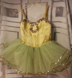 Hand Made Vintage Girls Satin Sequins Yellow Tutu Dance Dress Costume Leotard | eBay