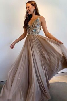 champagne prom dress with sequins top, long prom dress 2020 Beautiful Prom Dresses, Cheap Prom Dresses, Homecoming Dresses, Short Dresses, Graduation Dresses, Dress Long, Wedding Gowns With Sleeves, Long Sleeve Wedding, Formal Gowns