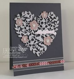 Bloomin' Heart Thinlits Dies from the new Stampin' Up! Occasions Catalog. Debbie Henderson, Debbie's Designs.