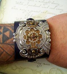 Steampunk Leather Wristband/Cuff  Scrollwork by DesignsByFriston
