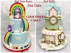 - Cake by Chocomoo Fondant Cakes, Cupcake Cakes, Cupcake Recipes, Miffy Cake, Care Bear Cakes, Twin Birthday Cakes, Twins Cake, Cake Decorating Supplies, Girl Cakes