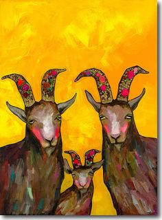 Goats Family Portrait - Canvas and Paper Reproduction – Eli Halpin Oil Paintings