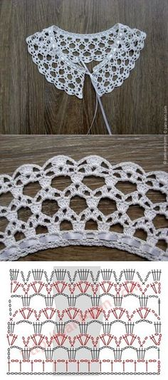 "Really pretty collar,and one of the easier ones to crochet! [ ""Really pretty collar,and one of the easier ones to crochet!"", ""Ez is gallér"", ""Crochet lace with chart"" ] # # # # # # # # # Crochet Collar Pattern, Col Crochet, Crochet Lace Collar, Crochet Diagram, Crochet Chart, Thread Crochet, Filet Crochet, Crochet Motif, Lace Knitting"