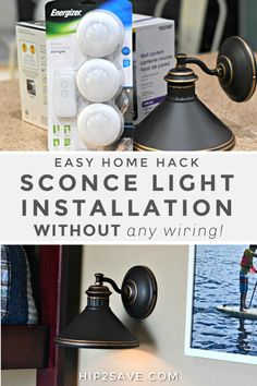 Love the look of sconce lighting, but not the hassle? Install your own sconce light without any wiring using just a battery-operated lighting puck! Battery Operated Wall Sconce, Battery Operated Lights, Battery Lights, Porch Lighting, Wall Sconce Lighting, Shed Lighting Ideas, Diy Light Fixtures, Rv Lighting Fixtures, Puck Lights