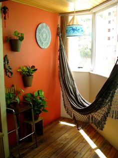 Apartment living room boho indoor hammock 51 ideas for 2019 Living Room Decor Orange, Boho Living Room, Living Room Colors, Bedroom Wall Decor Above Bed, Diy Bedroom, Hammock In Bedroom, Best Wall Colors, Diy Home Decor For Apartments, Indoor Hammock