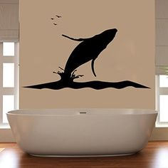 Humpback Whale Silhouette and Ocean Vinyl Wall Decal Sticker Graphic