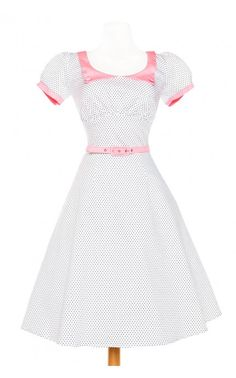 Puff Sleeve Swing Dress in White Pindots with Baby Pink Trim and Matching Belt | Pinup Girl Clothing