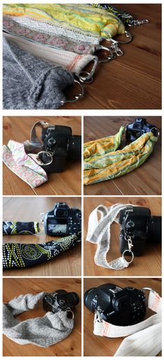 DIY camera straps - old scarf , tshirt or fabric leftovers