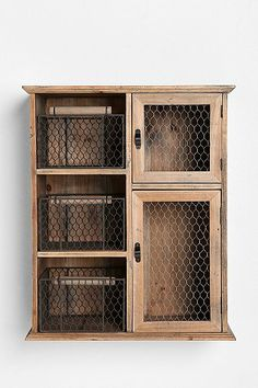 Wood Storage Unit -Reclaimed Wood Storage Unit - Potato Storage Bin Chicken Wire Flat Top by Colorfulimpressions Would love this in a kitchen! Great workspace on top and storage for potatoes, onions, etc in wire baskets! Kitchen Storage Units, Wood Storage, Diy Storage, Storage Ideas, Kitchen Cupboards, Pantry Cabinets, Toilet Storage, Cupboard Storage, Hidden Storage