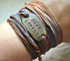 JUST BREATHE- Boho Silk Wrap Bracelet- yoga wrap- ribbon bracelet- shabby chic
