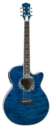 Luna Fauna Guitar, Dolphin Tranz Blue/Quilted Maple