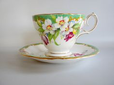 Narcissus Flowered Bell China Tea Cup and Saucer by oldandnew8, $22.00