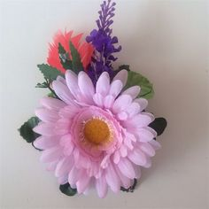 PINK DAISY LILAC RED FEATHER flower funky colourful purple green hairclip Brooch | Art From Wonderland | madeit.com.au