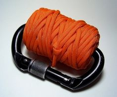 Bug Out Bag Gear: Paracord and Carabiners. They have so many uses I my brain is overloaded just thinking about it.  - 12 oz