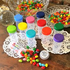 20 Party Favor JARS Party nuts Candy Containers Rainbow Happy 3814 DecoJars USA #Decojars #PartyorNutrition