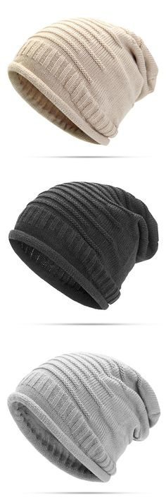 Women Knitted Woolen Stripe Beanie Hat Casual Foldable Warm Head Cap