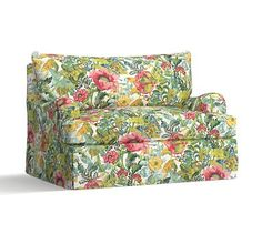 PB Comfort English Arm Slipcovered Twin Armchair Sleeper, Knife Edge Polyester Wrapped Cushions, Lyla Floral Multi