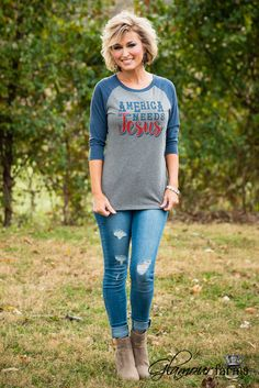 GF America Needs Jesus Baseball Tee - Heather Gray