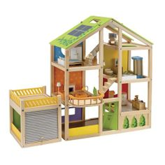 Wood Dollhouse With Furniture And Garage From One Step Ahead