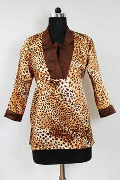 Tiger Printed Smart Satin shirt