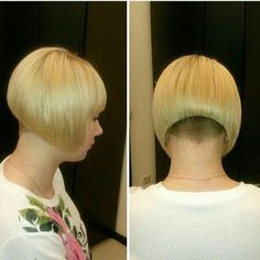 Awesome undercut on this short bob cut. Shaved Bob, Shaved Nape, Girls Short Haircuts, Short Bob Hairstyles, Short Hair Cuts, Short Hair Styles, Stacked Haircuts, Line Bob Haircut, New Hair Do
