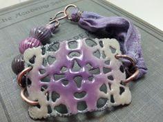 Pretty Purple Enamel on Iron Filigree, Custom Order.