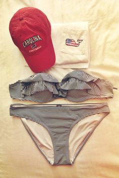 black/white seersucker bikini, Carolina hat