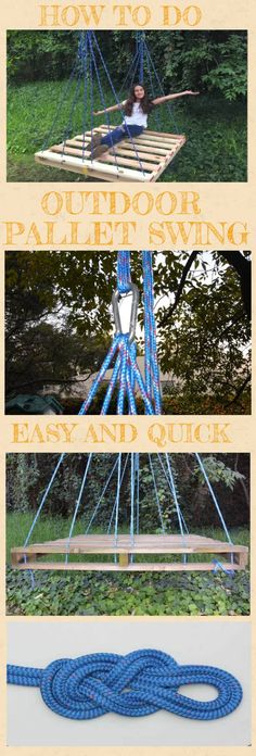 How to Make an Outdoor Pallet Swing. Easy and Quick pallet swing diy, pallet swing seat, pallet swing bed diy, how to build pallet swing, backyards pa Kids Backyard Playground, Backyard Swings, Backyard Camping, Natural Playground, Backyard For Kids, Diy For Kids, Playground Ideas, Children Playground, Playground Design