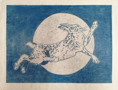 ARTFINDER: Over the moon by Sarah Cemmick - Leaping for joy, Mr hare is over the moon
