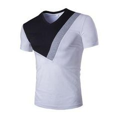 V-Neck Oblique Angle Color Block Short Sleeve Men's T-Shirt Cheap Trendy Clothes, Trendy Outfits, Mens Designer Shirts, African Clothing For Men, Custom Made T Shirts, Gents Fashion, Men Online, Cheap T Shirts, Herren T Shirt