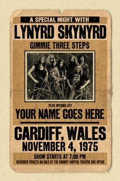 Your Name on a Lynyrd Skynyrd concert poster 12x18 by posterinc, $15.00, remember these posters where you could add your name, class!