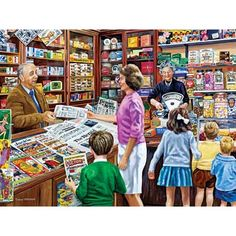 Shop Bits and Pieces jigsaw puzzle store for kids and adults! Children fill the shop curious about the news 300 large piece jigsaw puzzle by Trevor Mitchell measures 18 x