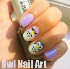 Owl nail art! Mint and brown anyone? Or Light blue and baby pink?