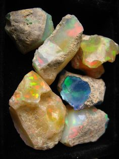 justrebellion: raw opals Raw Opal, Healing Stones, Crystal Healing, My Birthstone, Psychic Abilities, Quartz Stone, Black Opal, Rocks And Minerals, Crystals And Gemstones