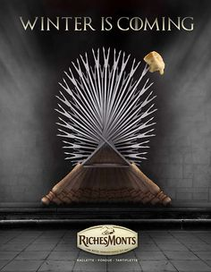 Publicité - Creative advertising campaign - RichesMonts : Winter is coming Creative Advertising, Print Advertising, Marketing And Advertising, Advertising Campaign, Digital Marketing, Street Marketing, Guerilla Marketing, Photomontage, Winter Wallpaper