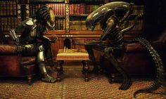 Alien vs Predator Play Chess by Benjamin Parry