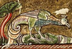 Greek Mythology: The Baliskos (or Basilisk) was a fabulous North African serpent whose deadly touch and poisonous breath withered plants and killed men. The creature is later depicted in medieval bestiaries as a serpent-tailed bird. Medieval Manuscript, Illuminated Manuscript, Illuminated Letters, Medieval Life, Medieval Art, Magnificent Beasts, Old Best Friends, Dragons, Beast Creature