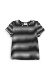 <p>The Uber T-shirt is made from ribbed organic cotton with an all-over striped print. It has a simple round neck, short sleeves and a tight, slightly cropped fit.</p><p>- Size Small measures 73,20 cm in chest circumference, 52 cm in length and 12,50 cm i