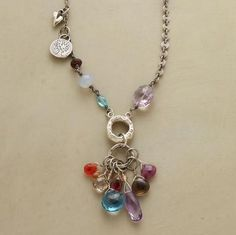 """BIG STREAM NECKLACE--Inspired by riverside picnics in New York, Jes MaHarry loads a sterling silver strand with London blue topaz, amethyst, aquamarine, coral, ruby, moonstone, garnet, rare trade beads and handcrafted sterling charms. Sterling clasp. Made in USA. Exclusive. Approx. 27""""L."""