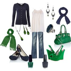 Kelly Green & Navy - Day to Night, created by nikkiabney on Polyvore