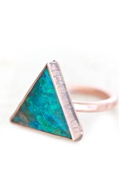 Chrysocolla Triangle Copper Ring - Hand Cut Ethically Sourced BOLD Ring Set in Copper Textured Oxidized Bezel and Setting - Boho Chic by amywaltz Jewelry Box, Jewelry Accessories, Fashion Accessories, Fashion Jewelry, Jewlery, Teal Jewelry, Unique Jewelry, Black Diamond Bands, Bold Rings