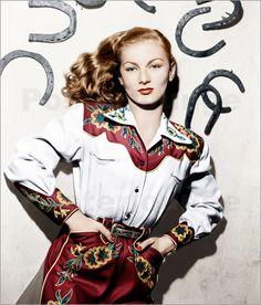 Ramrod Veronica Lake (Blue) 1947 Photo Print x Vintage Western Wear, Vintage Cowgirl, Cowboy And Cowgirl, Vintage Country, Cowgirl Style, Cowgirl Photo, Cowboy Gear, Gypsy Cowgirl, Western Art