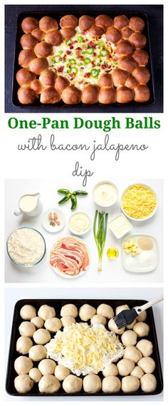 Dough Balls with Bacon Jalapeno Dip - all cooked and eaten from the same pan!