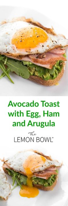 Whole grain bread is toasted then topped with creamy avocado, spicy arugula, smoked ham and a runny egg. #breakfast #breakfastrecipes #breakfastlovers #eggs #bacon #sandwich #healthyrecipes #healthyeating