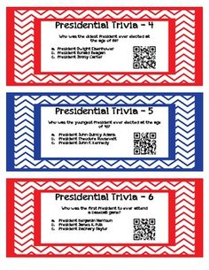 QR Code Task Cards: Presidential Trivia $