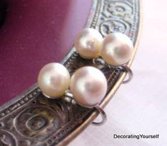 14k 14kt White Solid Gold Cultured Double Pearl Earrings by DecoratingYourself, $51.99