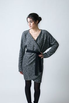 Belted Open Long Cardigan / Sweater Dress / by marcellamoda, $85.00