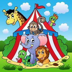 Papier peint enfant géant Animaux cirque